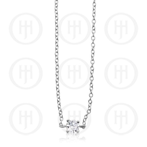 Sterling Silver Single CZ Pendant Bracelet (BR-1178)