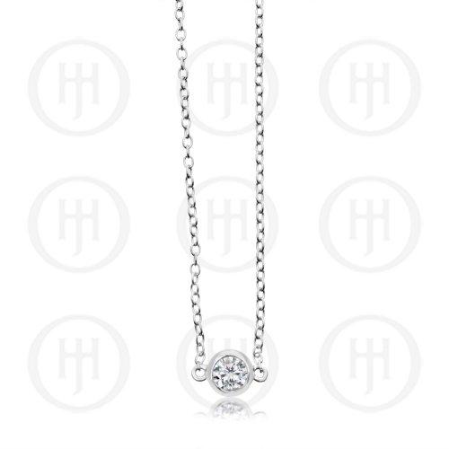 Single Silver CZ Bezel Bracelet (BR-1104)