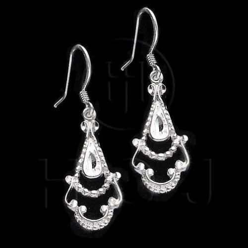 Silver Plain Dangle Filigree Flower Earrings (ED1012)