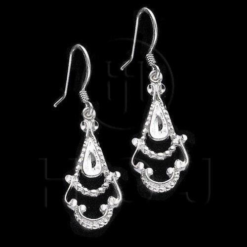 Silver Plain Dangle Filigree Flower Earrings (ED1012)