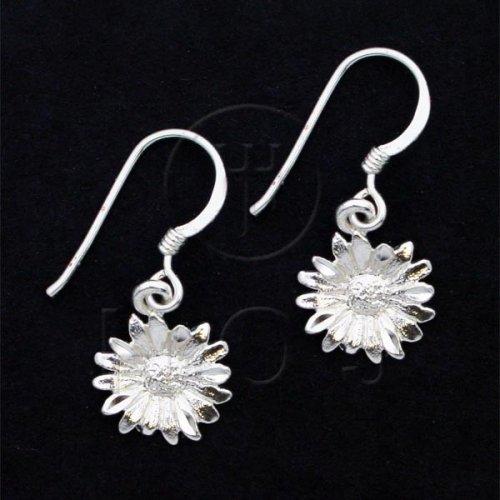 Silver Plain Dangle Earrings Flower (ED4337)