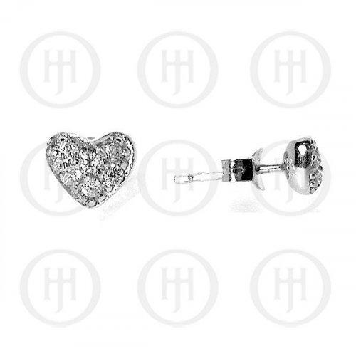 Silver Assorted CZ Stud Earrings Heart (ST-1025)