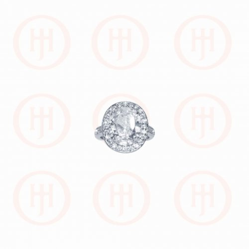 Silver CZ Round Stone Ring (R-1274)
