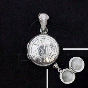 Silver Round Engraved Locket Pendant 18mm (LOC-1009)