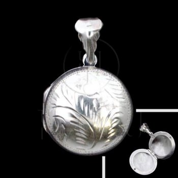 Sterling Silver Engraved Round Locket Pendant 22mm (LOC-RE-1010)