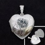 Silver Engraved Heart Locket Pendant 32mm (LOC-HE-1035)