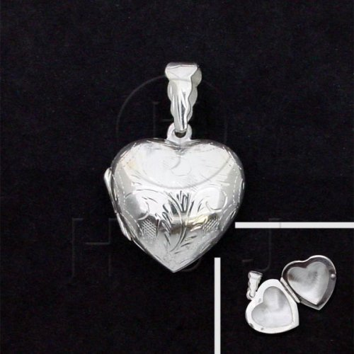 Silver Engraved Heart Locket Pendant 21mm (LOC-HE-1031)