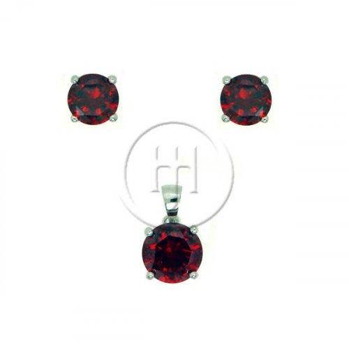 Silver Round Cut Garnet CZ Earring Pendant Set (PS-1028-G)