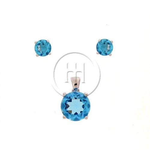 Silver Round Cut Blue Topaz CZ Earring Pendant Set (PS-1028-BT)