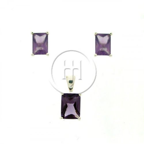 Silver Earrings Set Square Stud Amethyst (PS-1008-A)
