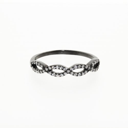 Double Infinity Black Onyx Ring with CZ