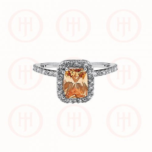 Citrine Rectangle stone cz halo (R-1223-C)