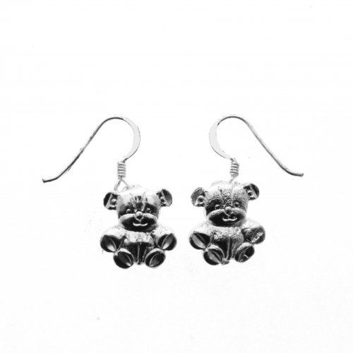 Silver Plain Dangle Earrings Teddy Bear (ED4879)