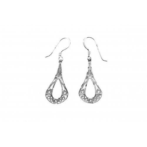 Silver Plain Filigree Dangle Drop Earrings (ESD1149)