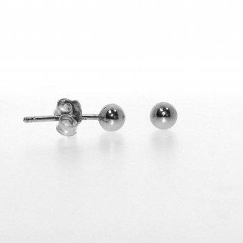 Plain Rhodium Plated Silver Ball Stud Earring 4 mm(ST-1028-4RH)