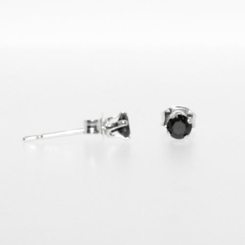 Black Round Cut 3mm CZ Stud Earring(ST-1017-3)