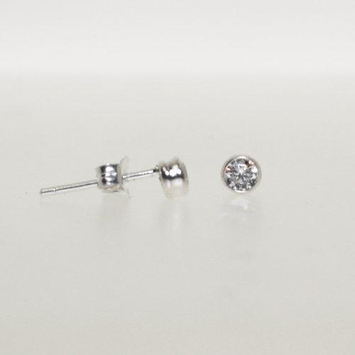 Silver 4mm Round CZ Bezel Stud Earrings (ST-1015-4)
