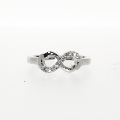 Silver CZ Inifity Cuff Ring (R-1258)