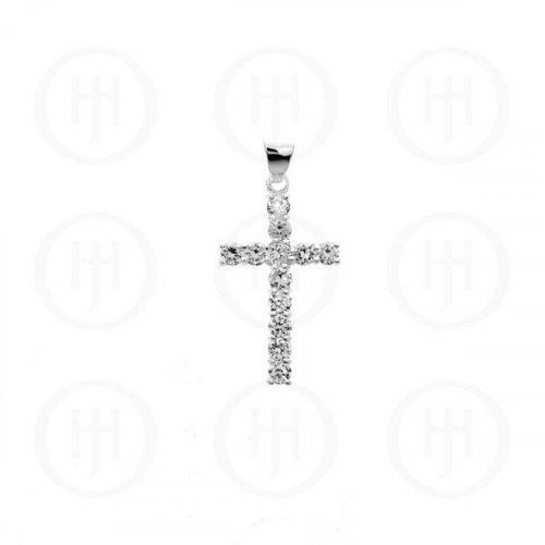 Silver Cubic Zirconia Religious Cross Pendant (CR-1019-W)