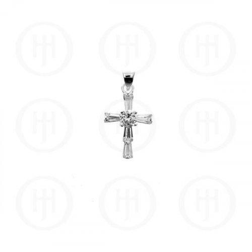 Silver Cubic Zirconia Religious Cross Pendant CR-1033