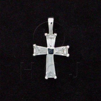 Silver Cubic Zirconia Religious Cross Pendant