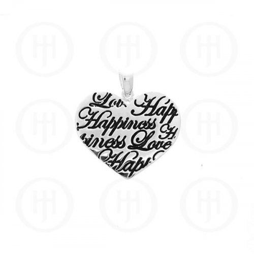 Silver Tiffany Inspired Inspirational Pendant Love Happiness (P-1040-B)