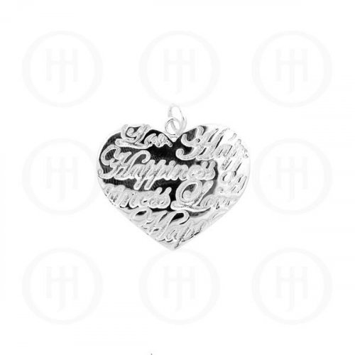 Silver Tiffany Inspired Inspirational Pendant Love Happiness (P-1040-W)