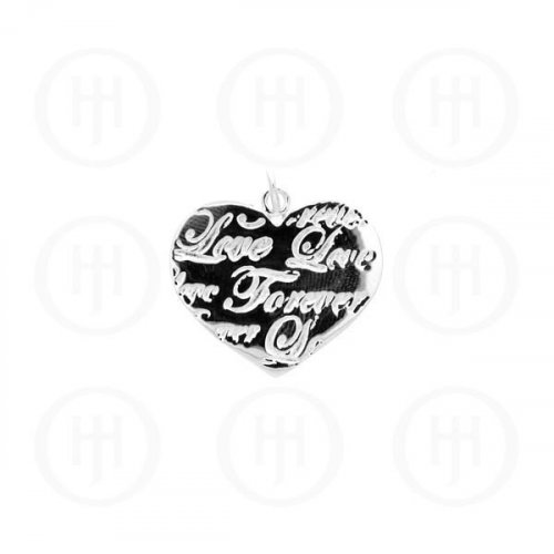 "Sterling Silver Tiffany Inspired Inspirational Engraved ""Love Forever"" Pendant (P-1041-W)"