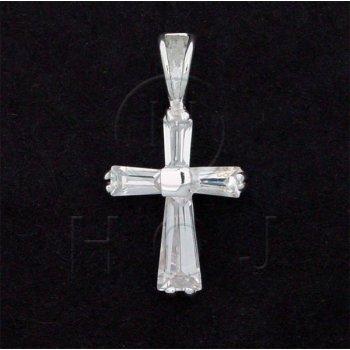 Silver Cubic Zirconia Religious Cross Pendant (CR-1032)
