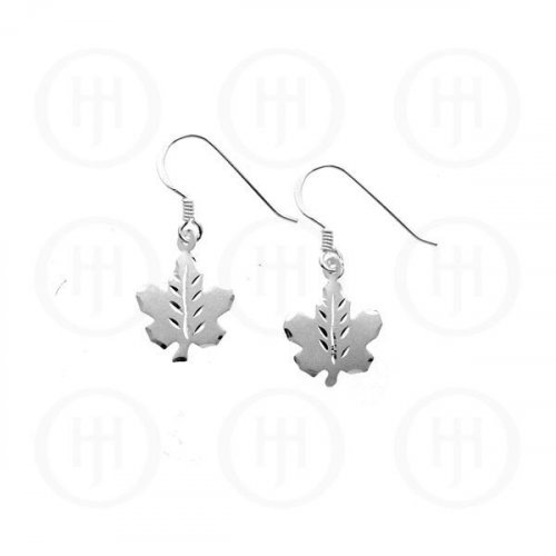 Sterling Silver Plain Dangle Earrings Canadian Maple Leaf (ER-1060)
