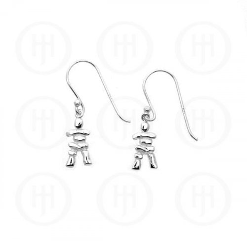 Silver Plain Dangle Earrings Canadian Inukchuk (ER-1057)
