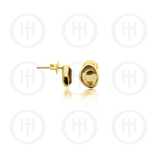 Sterling Silver Gold Plated Citrine Stone Stud Earrings (ST-1193)