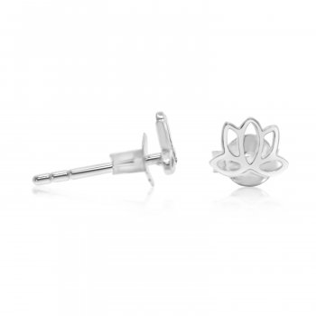 Silver Plain Lotus Stud Earrings (ST-1217)