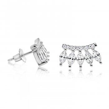Sterling Silver CZ Crown Stud Earrings (ST-1146)