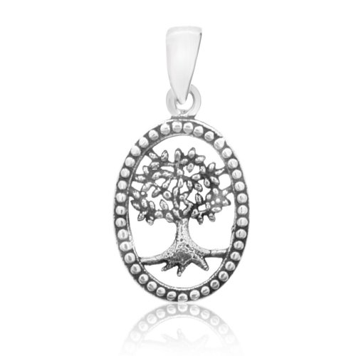 Plain Sterling Silver Tree of Life Oval Pendant (P-1349)