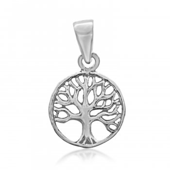 Plain Sterling Silver Tree of Life Circle Pendant (P-1350)