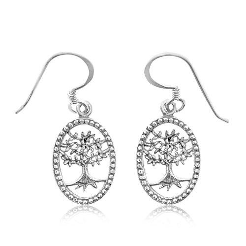 Plain Sterling Silver Tree of Life Oval Dangle Earrings (ER-1231)