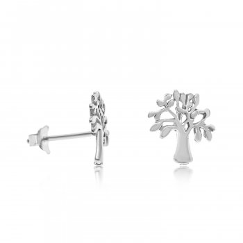Plain Silver Tree of Life Branches Stud Earrings (ST-1219)