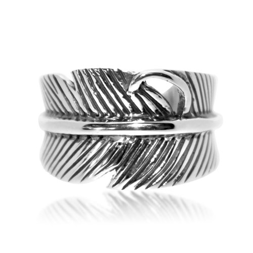 Plain Sterling Silver Feather Ring (R-1533)