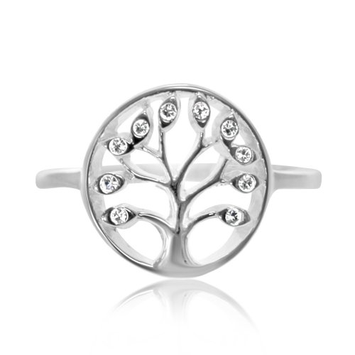 Sterling Silver CZ Tree of Life Circle Ring (R-1530)