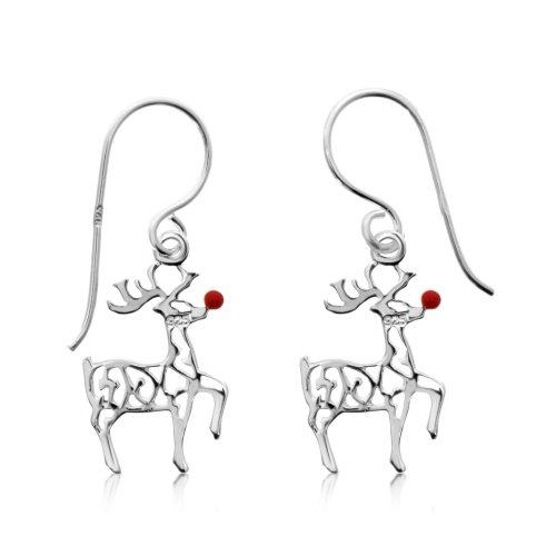 Silver Plain Rudolph Red Nose Reindeer Dangle Earrings (ER-1308)