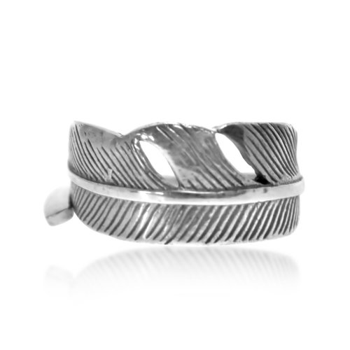 Silver Plain Single Feather Ring (R-1535)