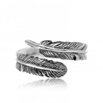Plain Sterling Silver Single Feather Wrap Around Ring (R-1536)