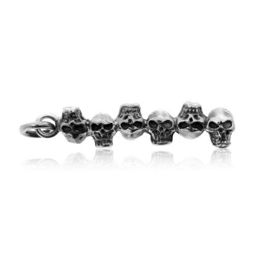 Plain Sterling Silver Skull Heads Pendant (P-1348)