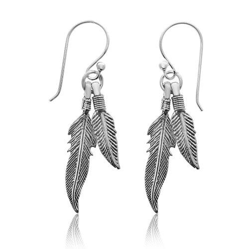 Silver Plain Two Dangling Feathers Dangle Earrings (ER-1230)
