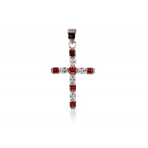 Sterling Silver CZ and Ruby Cross Religious Pendant (P-1346)