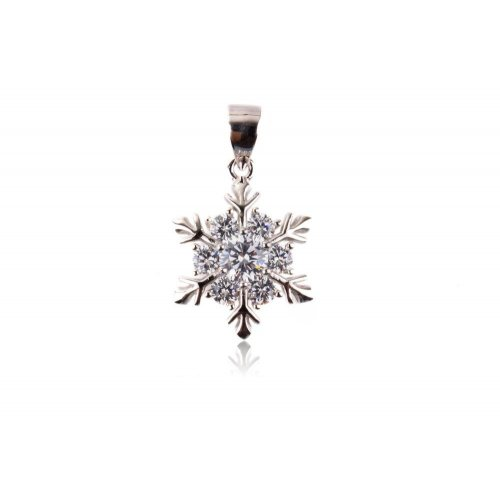 Sterling Silver CZ Assorted Snowflake Pendant (P-1347)