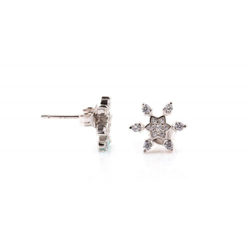 Sterling Silver Assorted CZ snowflake stud earrings (ST-1206)