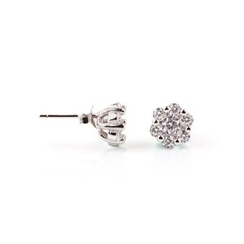 Sterling Silver CZ Assorted flower stud earring (ST-1207)