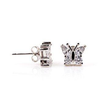 Sterling Silver CZ Assorted butterfly stud earring (ST-1208)
